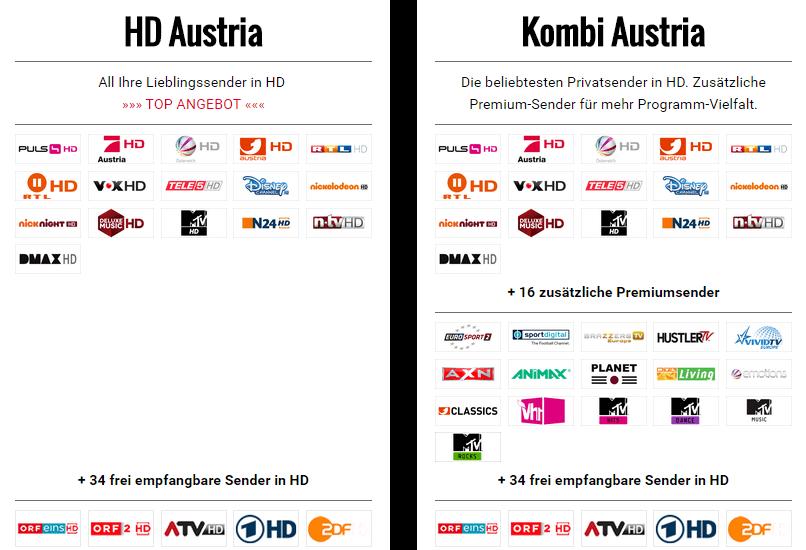 Paketübersicht HD Austria