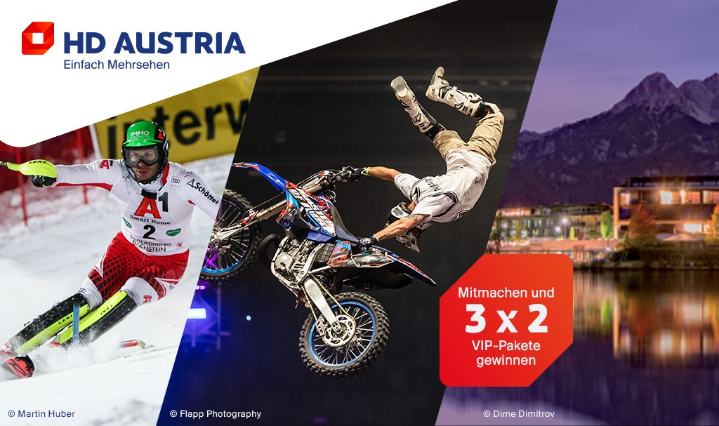 Winter Gewinnspiel HD Austria: Nachtslalom, Masters of Dirt, Hotel am See