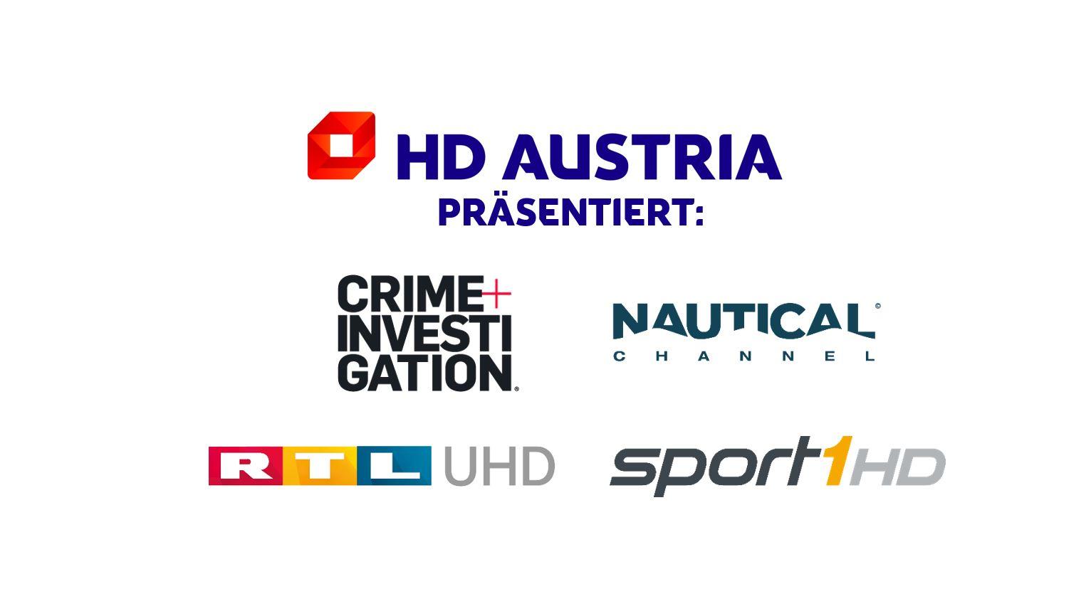 HD Austria startet Crime + Investigation, den Nautical Channel, RTL UHD und SPORT1 HD